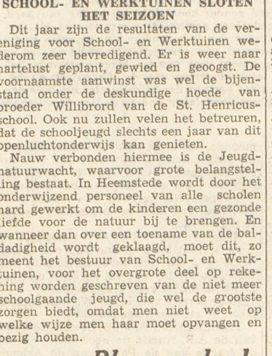 Act. van broeder Willibrordus Gehling bij schooltuinen aan de Herenweg (H.D., 20-9-1951)