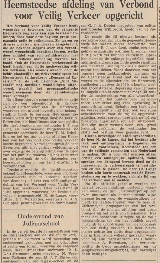 Activiteiten van br. Willibord Heerink bij Veilig Verkeer Heemstede (Haarlem's Dagblad, 21-11-1957).
