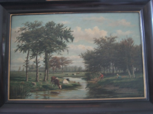 Schilderij van H.G.Wolbers uit 1875: rond 't Klooster in Heemstede (HVHB)
