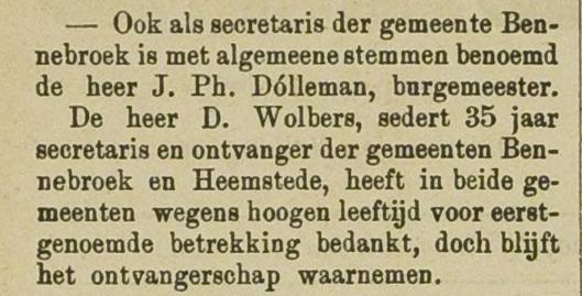 Ontslag Dirk Wolbers. Uit: Haarlem's Advertentieblad, 14-12-1889