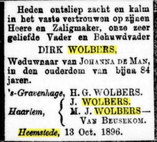 Overlijdensadvertentie Dirk Wolbers. Uit De Standaard, 16 oktoner 1896.