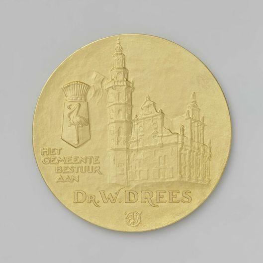 Penning voor dr.W.Drees in opdracht van het gemeentebestuur van Den Haag vervaardigd door Dirk Wolbers