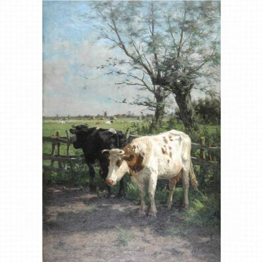 H.G.Wolbers: koeien riond 't Clooster (Hageveld). Schilderij geveild bij Christie's in 1999