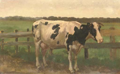 Herman Gerard Wolbers: koe in de wei. Geveild bij Christie's in 2005