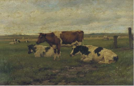 H.G.Wolbers, koeien in de wei. Geveild bij Christie's in 2005