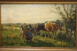H.G.Wolbers, schilderij getiteld Melktijd.