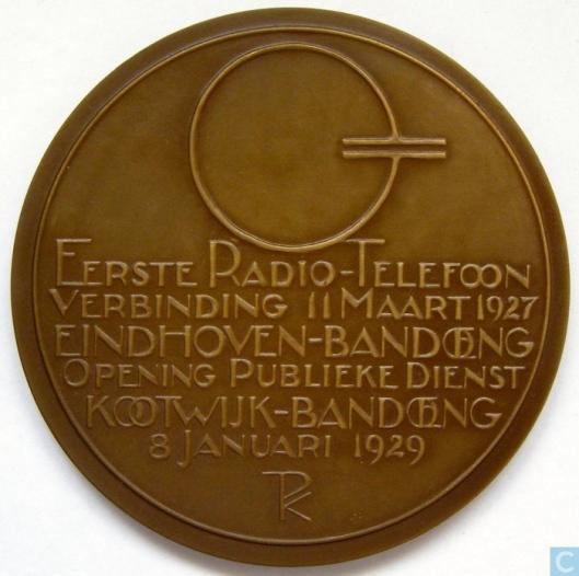 Ommezijde van Wolbers-penning radio Holland-Indië
