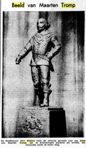 Ontwerp door Dirk Wolbers van een standbeeld ter ere van zeeheld Maarten Harpertszoon Tromp (1598-1653), bijgenaamd 'Bestevaer',dat vanwege het voortijdig overlijden van Wolbers niet is gerealiseerd. (Bericht uit De Tijd van 15-2-1957).
