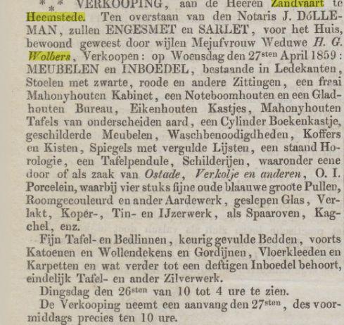 Verkoping inboedel H.G.Wolbers in 1859 (Opr.Haerlemsche Courant, 11-4-1859)