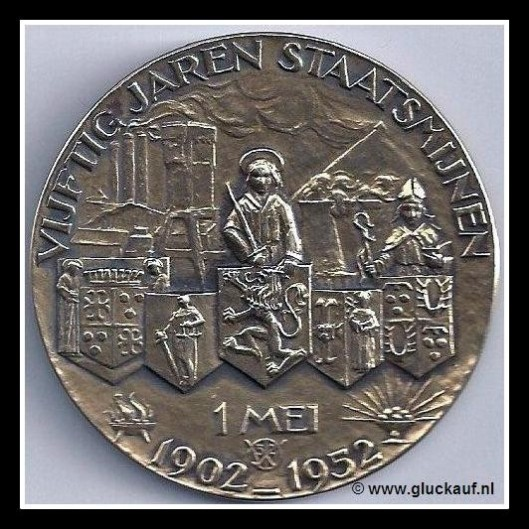 Voorzijde gedenkpenning Staatsmijnen 1902-1952 (Dik Wolbers)