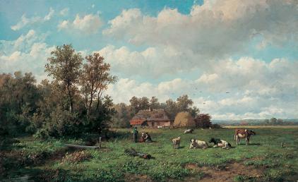 Wolbers ontving ook les van de Haarlemse (landschaps-)schilder en tekenaar Anthonie Jacobus van Wijngaerdt (1808-1887). Bovenstaand doek vanVan Wijngaerdt uit 1887 heet 'Bij de boerderij' en is in bezit van kunsthandel Mark Smit.