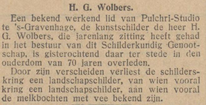 Overlijdensbericht van H.G.Wolbers, uit De Tijd van 30-12-1926