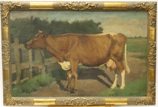 H.G.Wolbers: koe bij hek (2014 geveild bij Venduehuis Den Haag)