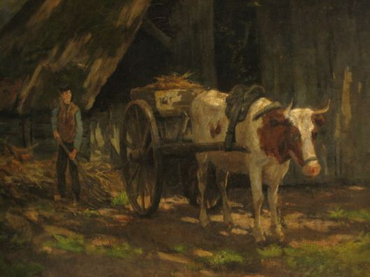 Een koe als trekdier. Anoniem schilderij geveild via Catawiki. Op de achterzijde is geschreven: Wolbers Heemstede