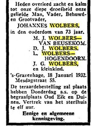 Overlijdensadvertentie Johannes Wolbers. Uit het Vaderland van 19 januari 1932