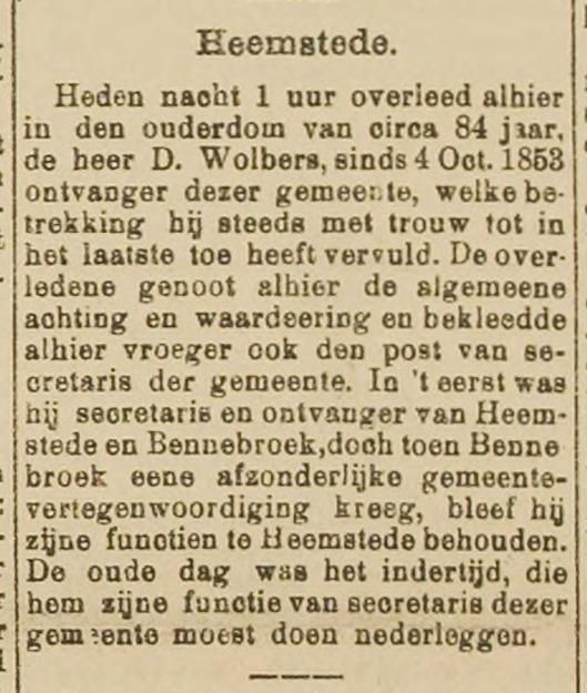 Overlijden Dirk Wolbers. Uit: Haarlem's Dagblad van 14-10-1896