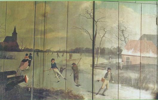 H.G.Wolbers: rechterpaneel met winterlandschap van schaatsers op een bevoren sloot