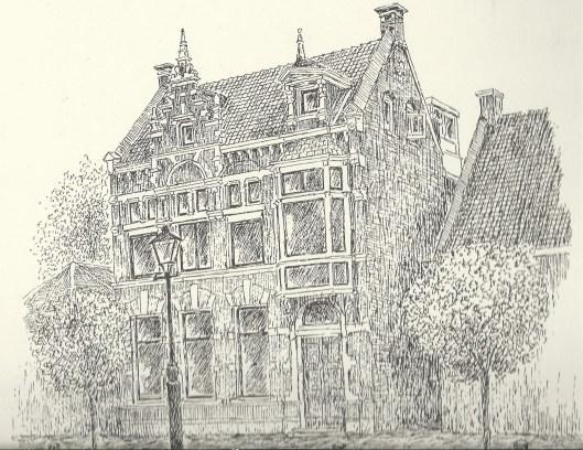 Tekening van vm. post- en telegraafkantor Raadhuisstraat, ontworpen door Johannes Wolbers. Tekening Reinoud Brandt, 1994. Uitgave Cobraspen, 1994