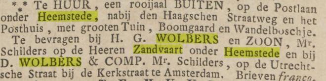 Wolbers pand te huur (Postlaan = Kerklaan). Opr.Hrlemsche Courant, 5-3-1842