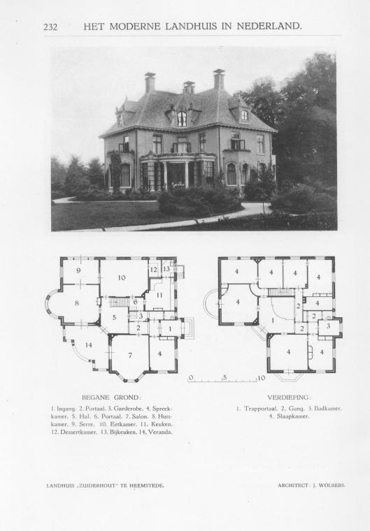 De door J.Wolbers ontworpen villa 'Zuiderhout' moest wijken in 1967 vanwege bouw van een gelijknamig verpleeghuis in de Haarlemmerhout