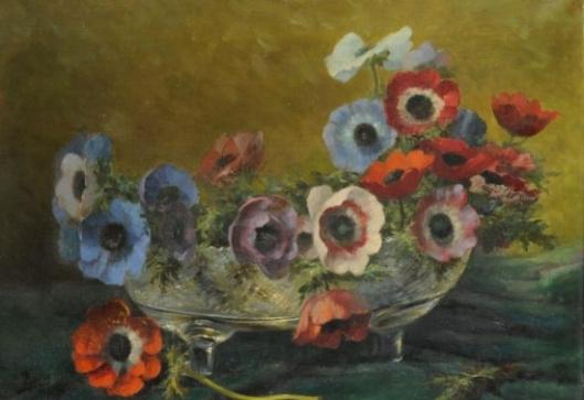 Bloemen in schaal; door Lucien Manceau