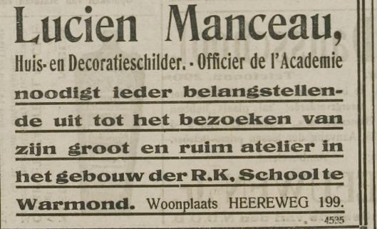 Uitnodiging atelier van Lucien Manceau in Warmond te bezoeken, 1918