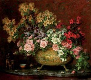 Bouquet in koperen pot; door Lucien Manceau, 1921