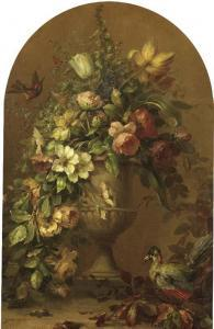 Lucien Manceau: bloemen in stenen vaas met tropische vogel