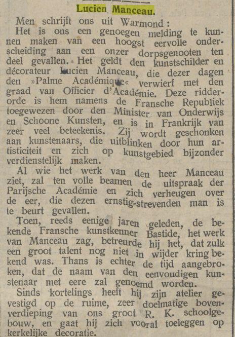 Bericht uit: De Tijd van 27-8-1912