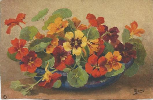 Geschilderd bloemstuk door Lucien Manceau als prentbriefkaart uitgegeven (LUII, Amsterdam, nummer 1002)