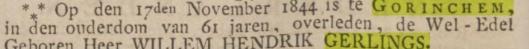 Bericht van overlijden Willem Hendrik Gerlings, uit Opr. Haerlemsche Courant vanb 21 november 1844