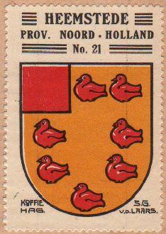Het wapen van Heemstede uit een circa 1930 uitgegeven HAG-album