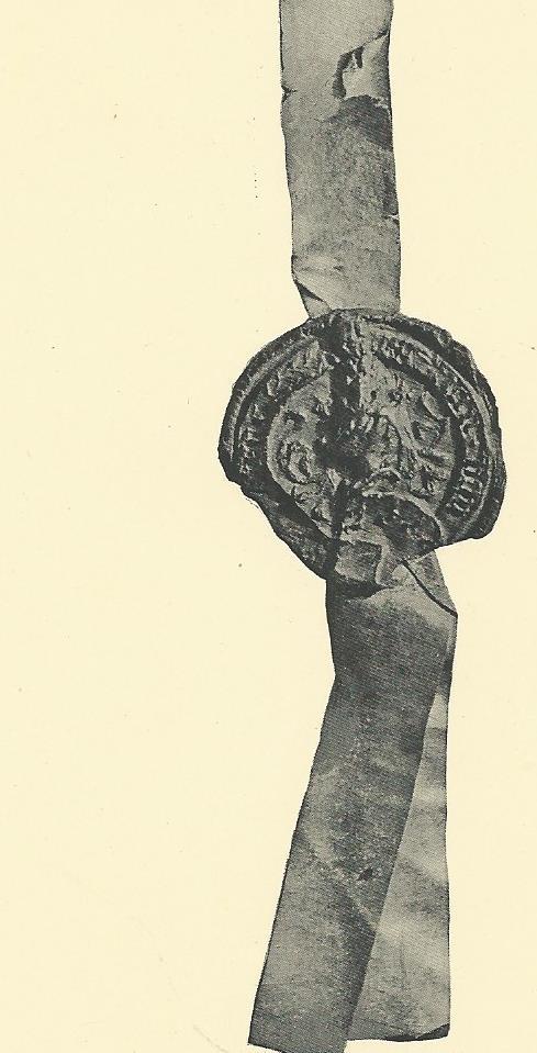 Zegel van Jan van Heemstede bevestigd aan de acte van 3 mei 1470 (Inventaris Van Doorninck, nummer 16) de merletten zijn onduidelijk zichtbaar.