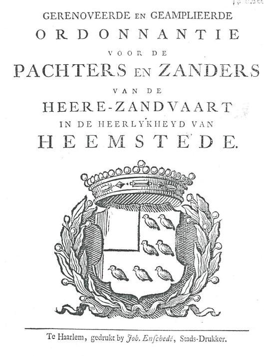 Het wapen van de ambachtsheerlijkheid Heemstede uit een publicatie uit 1744
