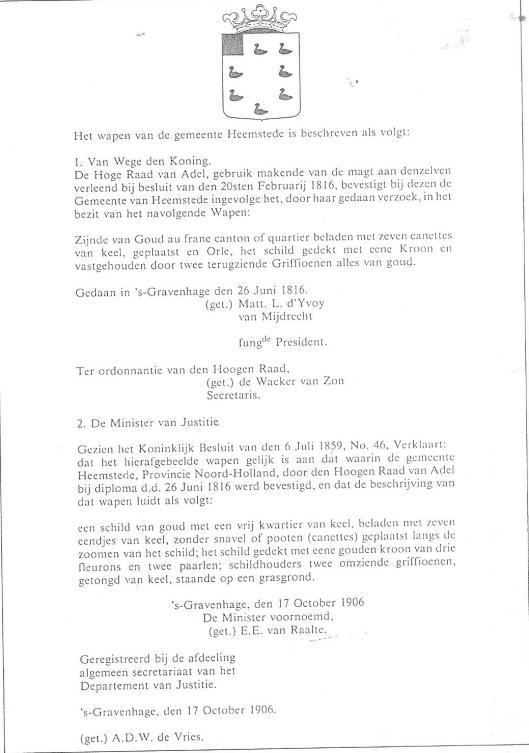 Vaststelling door Hoge Raad van Adel ten aanzien van het gemeentewaoen Heemstede, 1816/1906)