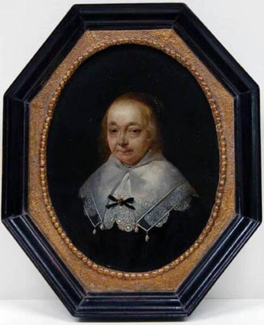 Anna van Ruytenburg. Houten paneel geschilderd door Gerard Terborg in 1645. Was meer dan 3 eeuwen in familiebezit Pauw (van Wieldrecht), tegenwoordig aanwezig in Frans Hals Museum Haarlem. Anna van Ruytenburg was al ziekelijk te zien aan het vale gezicht, zij overleed in 1648.
