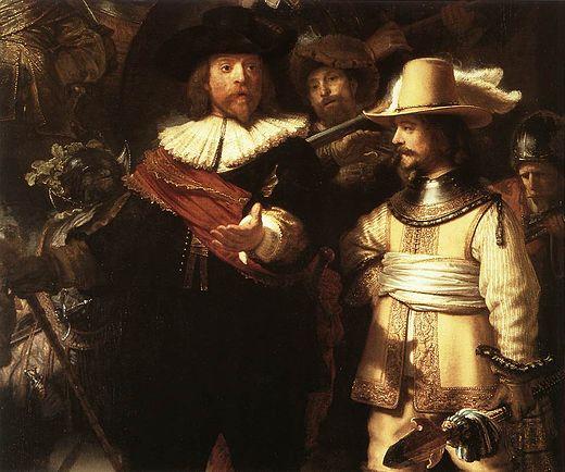 Uitsnede van de Nachtwacht met links kapitein Banning Cocq en rechts in het geel zijden gewaad Willem van Ruytenburgh,heer van Vlaardingen en  broer van Anna van Ruytenburgh