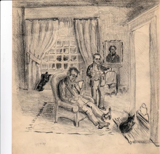 In de salon van Berkenrode met Godfried Bomans en diens jeugdvriend Harry Prenen, op een getekende schetrs van Marius van Beek
