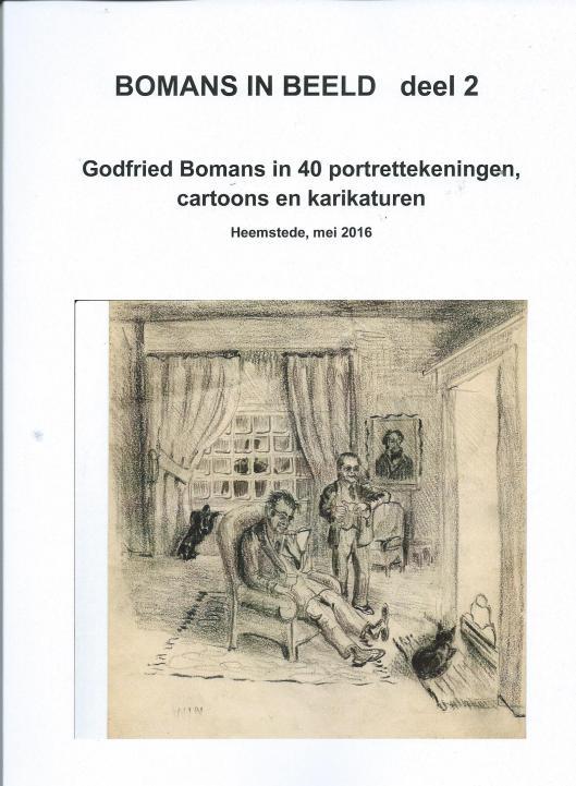 Vooromslag van Bomans in Beeld deel 2 met een weliswaar geen hoogstaande tekening van beeldhouwer Marius van Beek, maar curieus omdat hij Godfried Bomans en zijn jeugdvriend Harry Prenen tekende in de salon van het ouderlijk huis van Bomans Berkenrode aan de Herenweg in Heemstede
