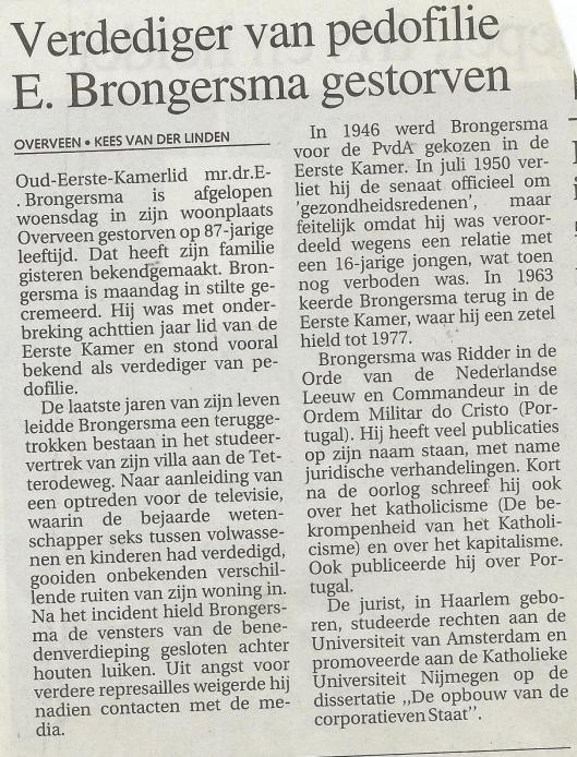 In Memoriam E.Brongersma, in: Haarlems Dagblad van 29 april 1998