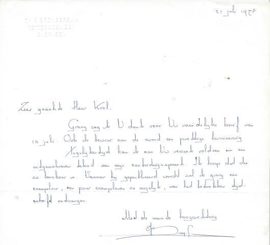 Een brief in het handschrift van dr.E.Brongersma, gedateerd 21 juli 1978