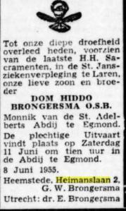 Overlijdensbericht van Edward Brongersma's enige broer Hidde, uit De Tijd van 9 juni 1945