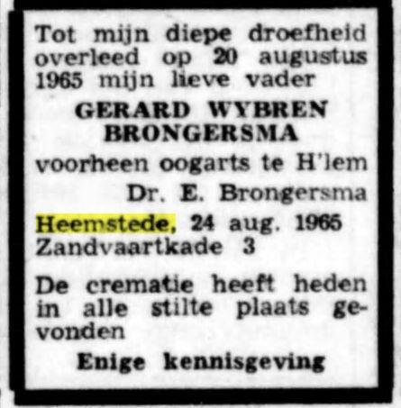 Overlijdensadvertentie G.W.Brongersma, vader van Edward Brongersma, in: De Tijd, de Maasbode van 24 augustus 1965