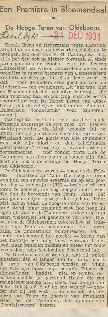 Recendie van kindertoneel H.G.Cannegieter, 'De Hooge Toren van den Oldeboorn', opgevoerd door de Bloemendaalse Schoolvereniging,  van de hand van  J.B.Schuil, Haarlems Dagblad 21 december 1931 (1)