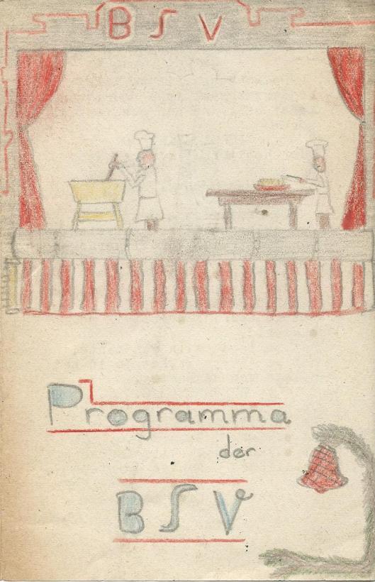 Getekende vooromslag Bloemendaalse Schoolvereniging (N.S.V.), 1947: De ring van den hertog' door H.G.Cannegieter