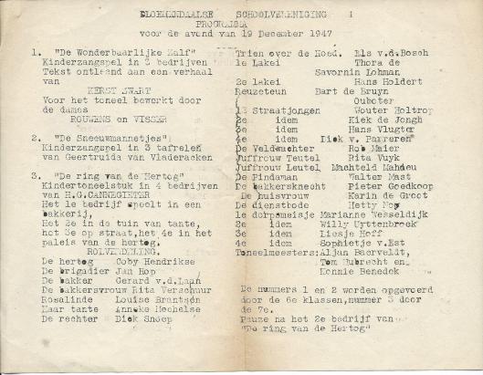 Programma van o.a. 'De ring van den hertog' door H.G.Cannegieter, 1947. Kindertoneel opgevoerd door leerlingen van de Bloemendaalse Schoolvereniging.