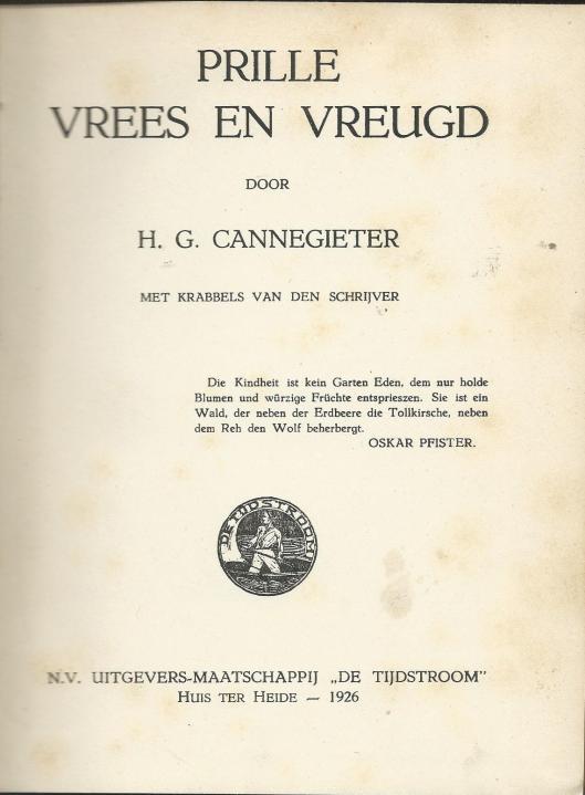 Titelblad van 'Vrees en vreugd' door H.G.Cannegieter