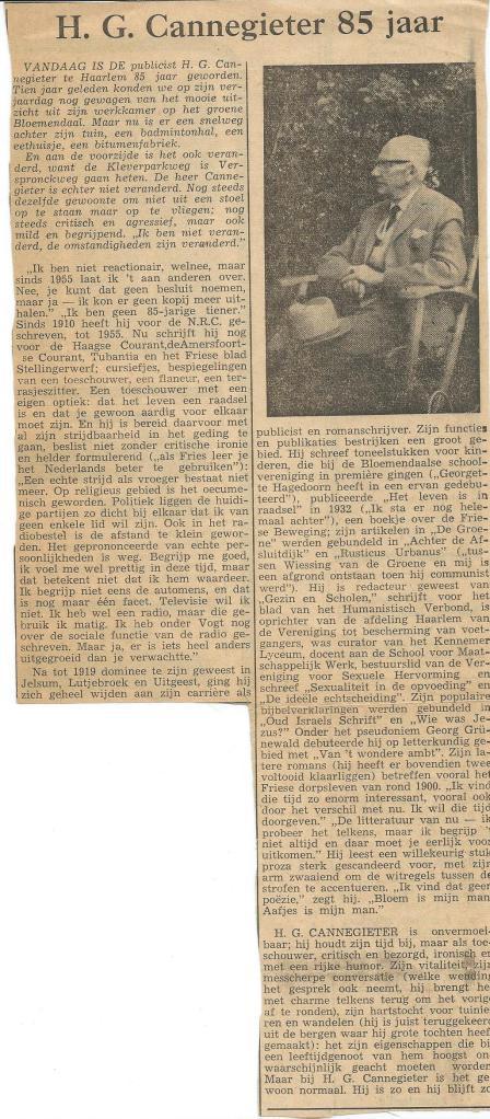 Artikel in 1966 verschenen bij de 85ste verjaardag van H.G.Cannegieter