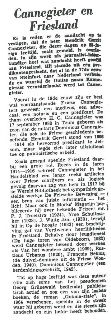 Bericht uit De Leeuwarder Courant van 1966