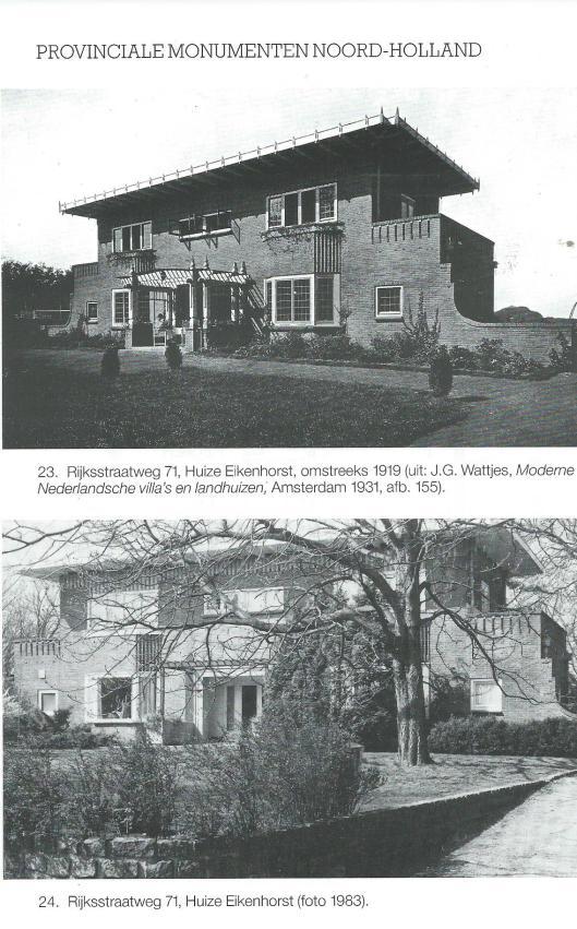 Eikenhorst Bennebroek, uit: Provinciale monumenten van Noord-Holland: Bennebroek, 1987